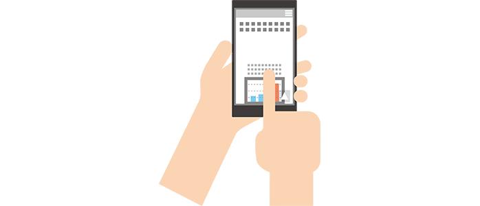 スマートフォンを操作するイラスト