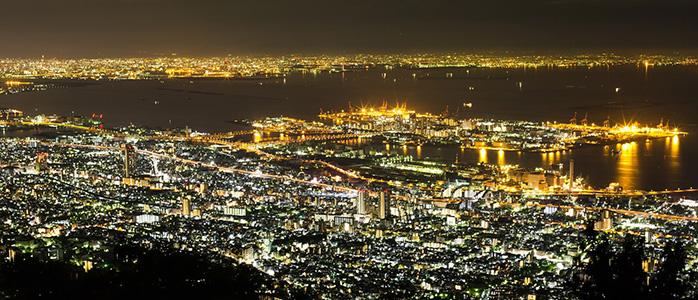 神戸市内の真耶山掬星台から見れる素晴らしい夜景